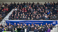 Supporters enjoy the game during the Greene King IPA Championship match between London Scottish Football Club and Jersey at Richmond Athletic Ground, Richmond, United Kingdom on 7 November 2015. Photo by Andy Rowland.
