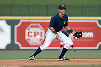 Third baseman Colby Woodmansee (26) of the Columbia Fireflies plays defense in a game against the Rome Braves on Sunday, July 2, 2017, at Spirit Communications Park in Columbia, South Carolina. Columbia won, 3-2. (Tom Priddy/Four Seam Images)