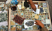 Gem stones for sale in Rangoon, Burma, Dec 2008.  the gem stones industry is one of the biggest earners of hard currency and largely controlled by the Burmese milirtary dictatorship.<br />