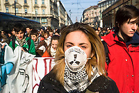 milano, manifestazione studentesca contro la riforma dell'istruzione --- milan, students demonstration against the school reform
