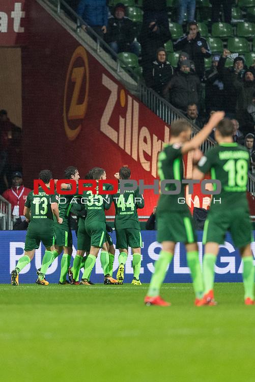 19.11.2017, Weser Stadion, Bremen, GER, 1.FBL, Werder Bremen vs Hannover 96, im Bild<br /> <br /> jubel nach dem 1 zu 0 durch Fin Bartels (Werder Bremen #22) mit der Mannschaft<br /> Foto &copy; nordphoto / Kokenge