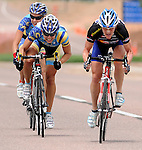 August  15, 2010:  The final sprint to the finish between Colorado Bike Law's, Terrie Clouse and Treads.com/DFT's, Kasey Clark and Megan Hottman during the 2010 Colorado Women's Pro Road Cycling Championships, U.S. Air Force Academy, Colorado Springs, Colorado.