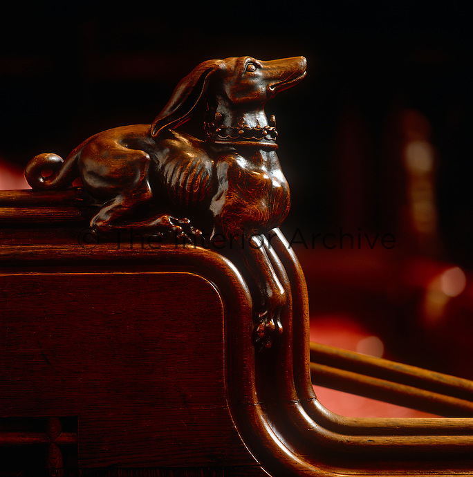 One of the vigorously carved royal beasts adorning the bench ends in the Chamber