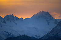 Sunrise over the Kenai mountains, Kenai Peninsula, Alaska