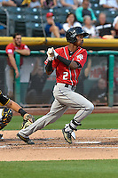 Raimel Tapia (2) of the Albuquerque Isotopes follows through on his swing against the Salt Lake Bees during the Pacific Coast League game at Smith's Ballpark on August 30, 2016 in Salt Lake City, Utah. The Bees defeated the Isotopes 3-2. (Stephen Smith/Four Seam Images)