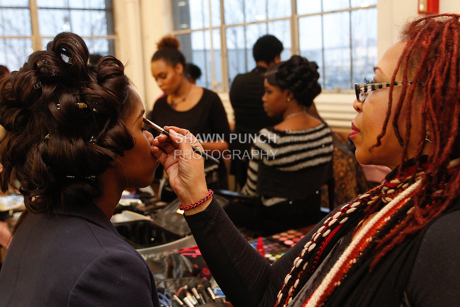 Hair and makeup prep backstage during Fashion Week Brooklyn Fall Winter 2014, at Industry City 241 37th Street, on March 2014.