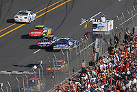 Apr 29, 2007; Talladega, AL, USA; Nascar Nextel Cup Series driver Jeff Gordon (24) takes the checkered flag under caution to win the Aarons 499 at Talladega Superspeedway. With the victory Gordon passed the late Dale Earnhardt Sr with all time wins. Mandatory Credit: Mark J. Rebilas