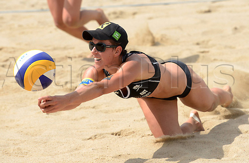 05.07.2013. Stare Jablonki, Poland.  FIVB Beach Volleyball World Cup Picture shows Doris Schwaiger AUT