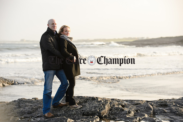 Donal and Aine O Sullivan who are promoting the Doonbeg Football Club's Christmas Day swim in White Strand at 12.30pm. Photograph  by John Kelly.