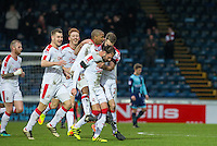 Celebrations as Josh Payne of Crawley Town acres the winning goal during the Sky Bet League 2 match between Wycombe Wanderers and Crawley Town at Adams Park, High Wycombe, England on 25 February 2017. Photo by Andy Rowland / PRiME Media Images.
