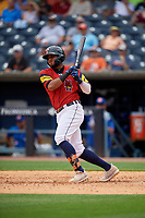 Toledo Mud Hens Dawel Lugo (34) at bat during an International League game against the Durham Bulls on July 16, 2019 at Fifth Third Field in Toledo, Ohio.  Durham defeated Toledo 7-1.  (Mike Janes/Four Seam Images)