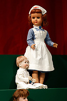 One nurse doll among the 400 pcs collection of antique dolls from the 18th to the 19th century, among them famous names like Jumot, Marseille, Lenci, Rheinische Gummi, Steiff, Kruse, made of different materials, as porcelain, bisque, fabric, celluloid and composites.<br /> Antique toys exposed at Palazzo Braschi during the Exhibition 'For fun. Collection of antique toys of Capitoline Superintendency'.<br /> Rome (Italy), July 24th 2020<br /> Foto Samantha Zucchi Insidefoto