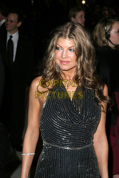 FERGIE - BLACK EYED PEAS.2005 Vanity Fair Oscar Party held at Morton's Restaurant. West Hollywood, CA.February 27th, 2005.Photo Credit: Jacqui Wong/AdMedia.half length black pinstripe dress.www.capitalpictures.com.sales@capitalpictures.com.© Capital Pictures.