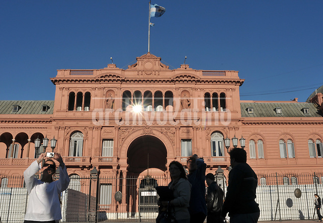 Casa Rosada or Pink House, the Presidential Palace of Argentina, over the Plaza de Mayo in downtown Buenos Aires.
