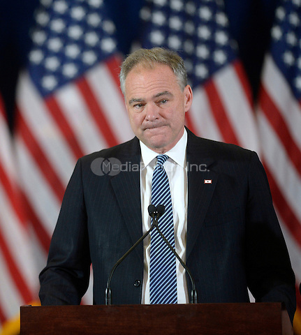 Democratic Vice Presidential nominee United States Senator Tim Kaine (Democrat of Virginia) looks on before introducing Presidential candidate Hillary Clinton to deliver her concession speech Wednesday, from the New Yorker Hotel's Grand Ballroom in New York, NY, on November 9, 2016.  <br />