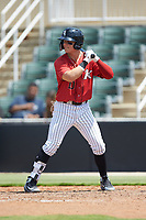 Steele Walker (10) of the Kannapolis Intimidators at bat against the Greensboro Grasshoppers at Kannapolis Intimidators Stadium on August 5, 2018 in Kannapolis, North Carolina. The Grasshoppers defeated the Intimidators 2-1 in game one of a double-header.  (Brian Westerholt/Four Seam Images)