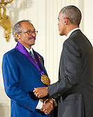 United States President Barack Obama presents the 2015 National Medal of Arts to  Jack Whitten, Painter of New York, New York, during a ceremony in the East Room of the White House in Washington, DC on Thursday, September 22, 2016.<br /> Credit: Ron Sachs / CNP