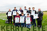 A petition will be sent to Kerry County council in support of saving Ballyheigue AFC's Soccer pitch, collected at a rally held at Ballyheigue Athletic on Sunday. Pictured  l-r  Kyle Riedy, Roy Duggan and Conor O'Sullivan, Back l-r Denis Guerin, KDL, Noel Carroll, Michael Leane, Sr, Michael Leane, Jr, John O'Sullivan, Conor McCrohan  and John O'Regan, KDL