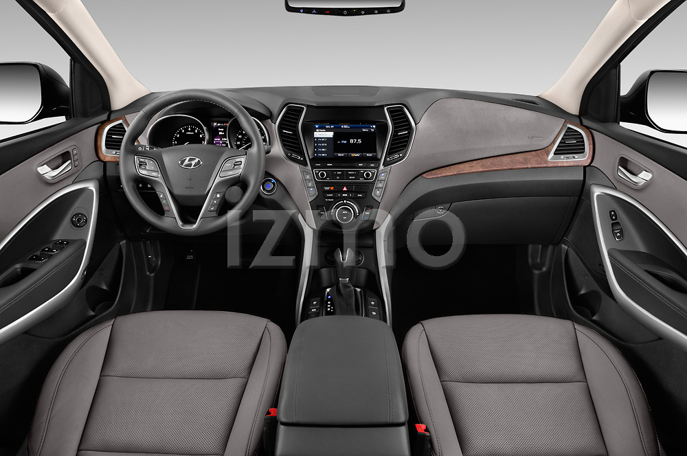 Stock photo of straight dashboard view of a 2019 Hyundai Santa FE XL Limited Ultimate 5 Door SUV