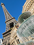 Replica Eiffel Tower and La Fountaine des Mers at the Paris Las Vegas Hotel and Casino in Las Vegas, Nevada.