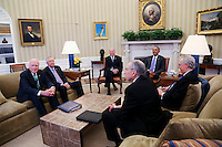 United States President Barack Obama meets with the bipartisan leaders of the US Senate and the bipartisan leaders of the US Senate Judiciary Committee to talk about the Supreme Court vacancy left by the death of Associate Justice Antonin Scalia, in the Oval Office of the White House.  From left to right: US Senate Judiciary Committee; US Senate Minority Leader Harry Reid (Democrat of Nevada); US Vice President Joe Biden; the President; US Senate Majority Leader Mitch McConnell (Republican of Kentucky); and US Senator Chuck Grassley (Republican of Iowa), Chairman, US Senate Judiciary Committee. In what was described as a ìvery shortî meeting, the Republicans advised Obama there would be no hearings and no vote on any nominee he submits to replace Scalia. Photo Credit: Aude Guerrucci/CNP/AdMedia