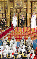 18 May 2016 - London England - Queen Elizabeth II and Prince Philip Duke of Edinburgh with Prince Charles Prince of Wales during the State Opening of Parliament in the House of Lords in London. The State Opening of Parliament marks the formal start of the parliamentary year and the Queen's Speech sets out the government's agenda for the coming session. Photo Credit: ALPR/AdMedia