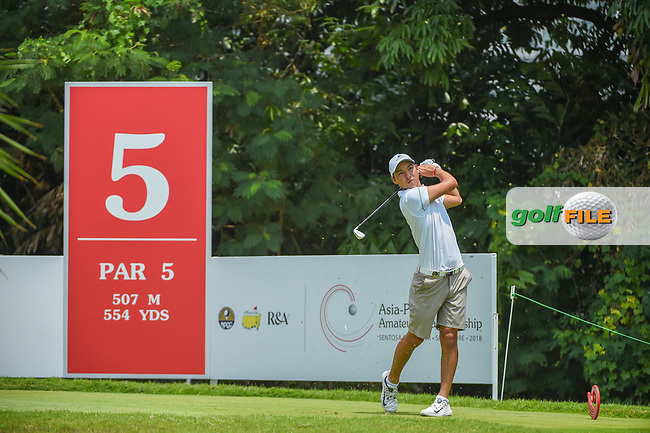 Min Woo LEE (AUS) watches his tee shot on 5 during Rd 2 of the Asia-Pacific Amateur Championship, Sentosa Golf Club, Singapore. 10/5/2018.<br /> Picture: Golffile | Ken Murray<br /> <br /> <br /> All photo usage must carry mandatory copyright credit (© Golffile | Ken Murray)