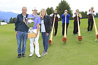 Matthew Fitzpatrick (ENG) pictured with his parents wins the tournament after a 3 hole playoff at the  end of Sunday's Final Round of the 2017 Omega European Masters held at Golf Club Crans-Sur-Sierre, Crans Montana, Switzerland. 10th September 2017.<br /> Picture: Eoin Clarke | Golffile<br /> <br /> <br /> All photos usage must carry mandatory copyright credit (&copy; Golffile | Eoin Clarke)