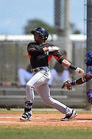 Miami Marlins John Norwood (27) during a minor league spring training game against the New York Mets on March 30, 2015 at the Roger Dean Complex in Jupiter, Florida.  (Mike Janes/Four Seam Images)