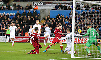 Roberto Firmino of Liverpool goes close in the dying moments of the match during the Premier League match between Swansea City and Liverpool at the Liberty Stadium, Swansea, Wales on 22 January 2018. Photo by Mark Hawkins / PRiME Media Images.