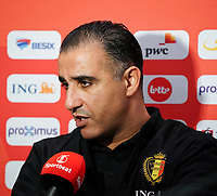 20200201 Herentals , BELGIUM :  Belgian head coach Karim Bachar interviewed by Sportbeat after g a futsal indoor soccer game between the Belgian Futsal Devils of Belgium and Montenegro on the third and last matchday in group B of the UEFA Futsal Euro 2022 Qualifying or preliminary round , Saturday 1st February 2020 at the Sport Vlaanderen sports hall in Herentals , Belgium . PHOTO SPORTPIX.BE | Sevil Oktem