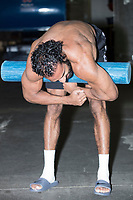 WWE Champion Jinder Mahal stretches backstage before a match as part of the WWE Live Summerslam Heatwave Tour at the MassMutual Center in Springfield, Massachusetts, USA, on Mon., Aug. 14, 2017.