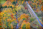 Avon Aqueduct on the Union Canal near Linlithgow, in autumnal colours.. It is 810 feet (250 m) long and 86 feet (26 m) high; it is the longest and tallest aqueduct in Scotland, and the second longest in Britain .©peter Sandground
