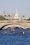 Rowing, Boston, Cambridge, Charles River, Head of the Charles Regatta, Club Fours Women, River Street Bridge, Western Avenue Bridge and the Weeks Footbridge, Massachusetts, USA. Saturday October 21, 2006