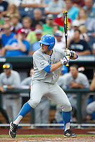 UCLA second baseman Cody Regis (18) at bat during Game 1 of the 2013 Men's College World Series Finals against the Mississippi State Bulldogs on June 24, 2013 at TD Ameritrade Park in Omaha, Nebraska. The Bruins defeated the Bulldogs 3-1, taking a 1-0 lead in the best of 3 series. (Andrew Woolley/Four Seam Images)