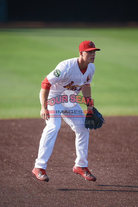 Johnson City Cardinals third baseman Nolan Gorman (4) during a game against the Danville Braves on July 29, 2018 at TVA Credit Union Ballpark in Johnson City, Tennessee.  Johnson City defeated Danville 8-1.  (Mike Janes/Four Seam Images)