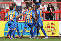Paul Parry of Shrewsbury (2nd r) is congratulated after scoring the opening goal.  Stevenage v Shrewsbury Town - npower League 1 -  Lamex Stadium, Stevenage - 1st September, 2012. © Kevin Coleman 2012.