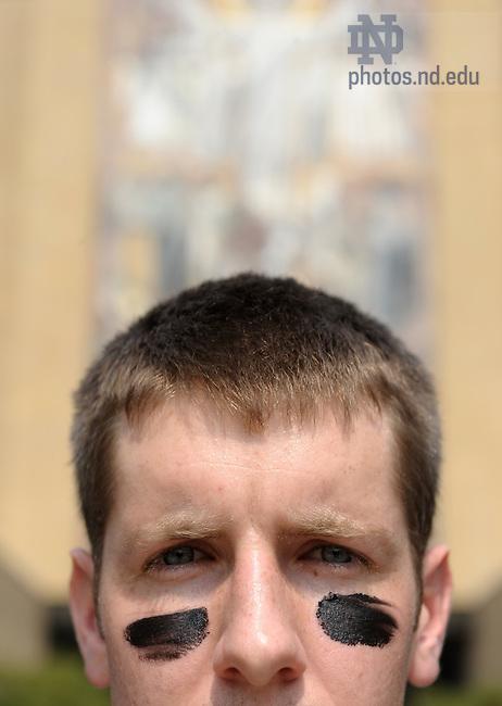 Eye Black for ND Magazine story on Brian Farkus..Photo by Matt Cashore/University of Notre Dame