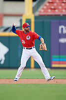 Buffalo Bisons third baseman Jason Leblebijian (26) throws to first base during a game against the Lehigh Valley IronPigs on June 23, 2018 at Coca-Cola Field in Buffalo, New York.  Lehigh Valley defeated Buffalo 4-1.  (Mike Janes/Four Seam Images)