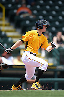Bradenton Marauders outfielder Austin Meadows (13) at bat during a game against the St. Lucie Mets on April 12, 2015 at McKechnie Field in Bradenton, Florida.  Bradenton defeated St. Lucie 7-5.  (Mike Janes/Four Seam Images)