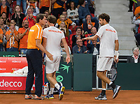 The Hague, The Netherlands, September 16, 2017,  Sportcampus , Davis Cup Netherlands - Chech Republic, Doubles : Robin Haase (NED) / Matwe Middelkoop (NED) with captain Paul Haarhuis<br /> Photo: Tennisimages/Henk Koster