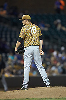 Down East Wood Ducks relief pitcher Jacob Lemoine (18) looks to his catcher for the sign against the Winston-Salem Dash at BB&T Ballpark on May 12, 2018 in Winston-Salem, North Carolina. The Wood Ducks defeated the Dash 7-5. (Brian Westerholt/Four Seam Images)