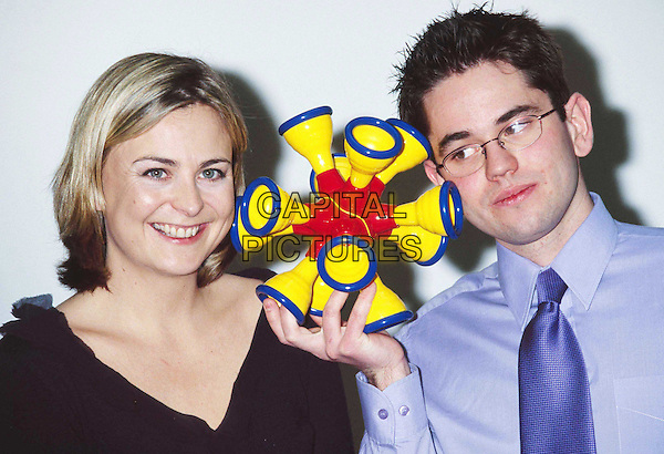 """PHILIPPA FORRESTER & MICHAEL COHEN ..Fisher Price Toy Design Awards. Michael is the winner with his """"Rock & Roll Ball""""...Ref: 11374..toy, play, game, headshot, portrait..www.capitalpictures.com..sales@capitalpictures.com..©Capital Pictures.."""