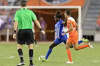 Houston, TX - Sunday Sept. 11, 2016: Eunice Beckmann, Poliana Barbosa during a regular season National Women's Soccer League (NWSL) match between the Houston Dash and the Boston Breakers at BBVA Compass Stadium.