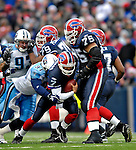 24 December 2006: Buffalo Bills quarterback J.P. Losman (7) is sacked by Tennessee Titans defensive end Travis LaBoy (91) at Ralph Wilson Stadium in Orchard Park, New York. The Titans edged out the Bills 30-29.&amp;#xA; &amp;#xA;Mandatory Photo Credit: Ed Wolfstein Photo<br />