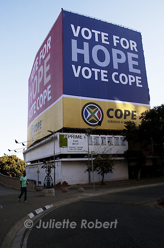 Electoral poster for Cope in downtown Johannesburg. April 2009