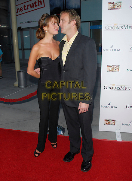 "NIKKI COX & JAY MOHR.""The Groomsmen"" World Premiere held at The Arclight Theatre in Hollywood, California, USA..July 12th, 2006.Ref: DVS.Nicki Nicky full length grey gray suit balck trousers corset strapless.www.capitalpictures.com.sales@capitalpictures.com.Supplied By Capital PIctures"