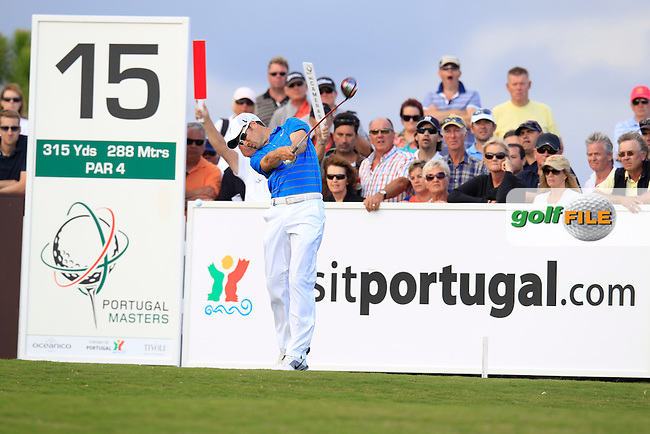 Ross Fisher (ENG) tees off the 15th tee during Sunday's Final Round of the Portugal Masters at the Oceanico Victoria Golf Course, Vilamoura, Portugal 14th October 2012 (Photo Eoin Clarke/www.golffile.ie)