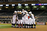 Maryland players huddle on the field before a Big 10 tournament baseball game against Michigan State in Minneapolis, Wednesday, May 20, 2015. Maryland defeated Michigan State 2-1. ( Photo/Ann Heisenfelt)