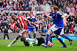 Ricardo Fuller of Stoke City goes close to scoring as Leicester City's Paul Henderson makes a save during the Championship League match at The Britannia Stadium, Stoke. Picture date 4th May 2008. Picture credit should read: Simon Bellis/Sportimage
